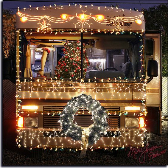 christmas decorated RV motorhome