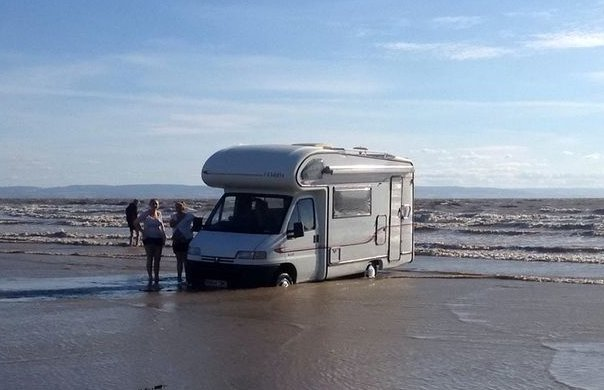 motorhome at low tide